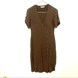 VICI All Row olive green button down dress